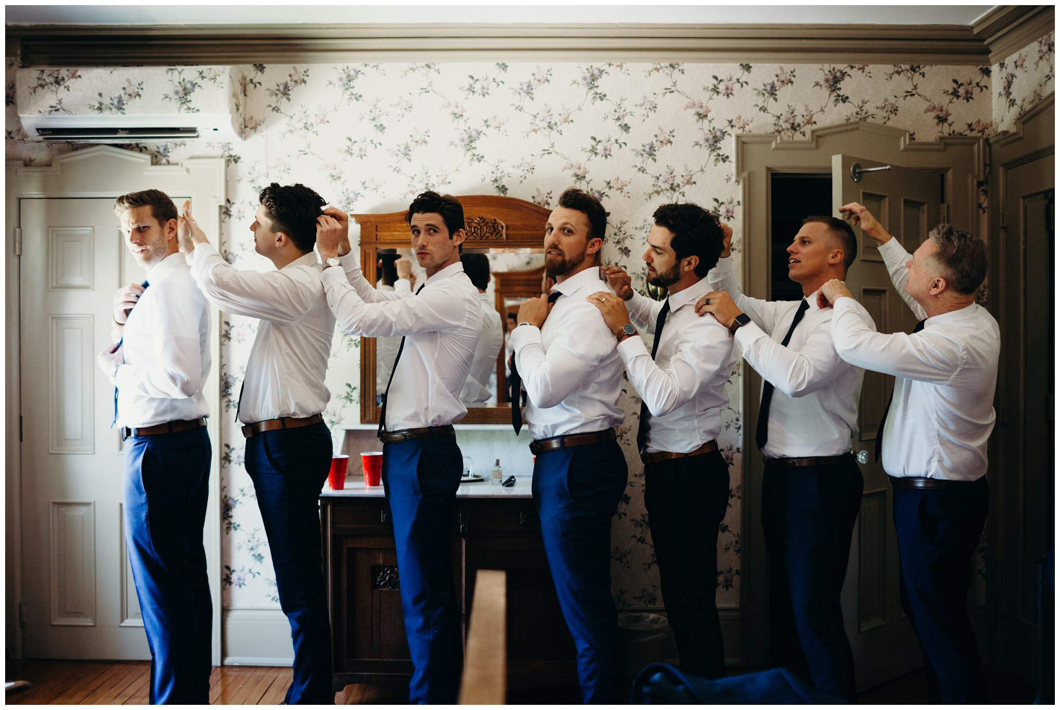 creative groomsmen getting ready shot, felt mansion wedding
