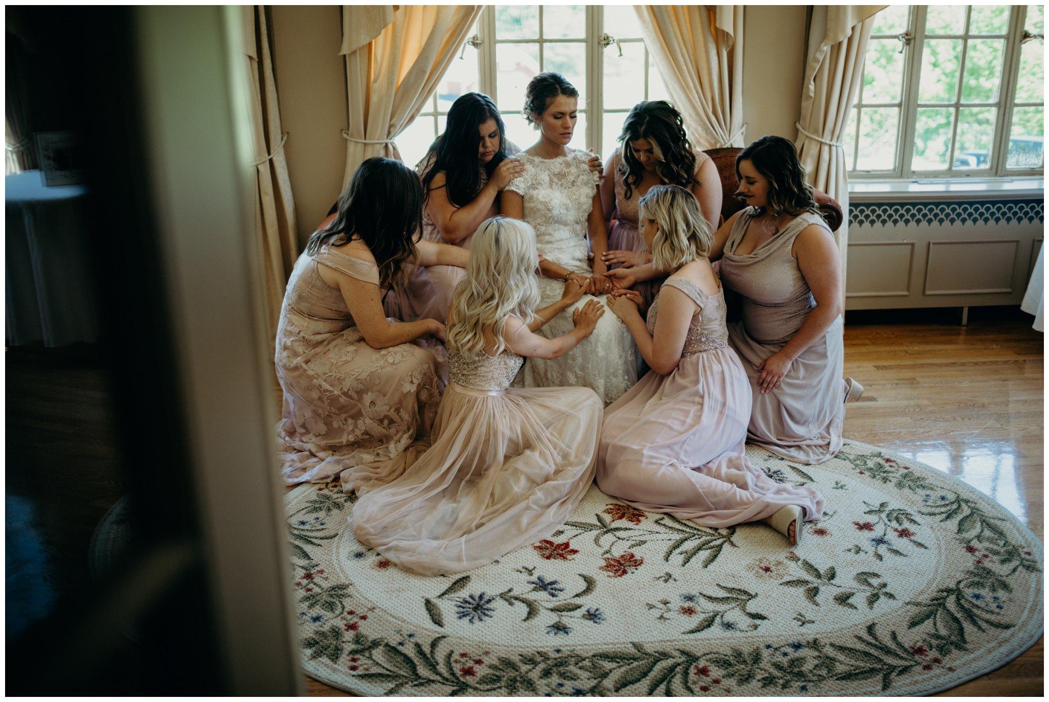 Praying over bride