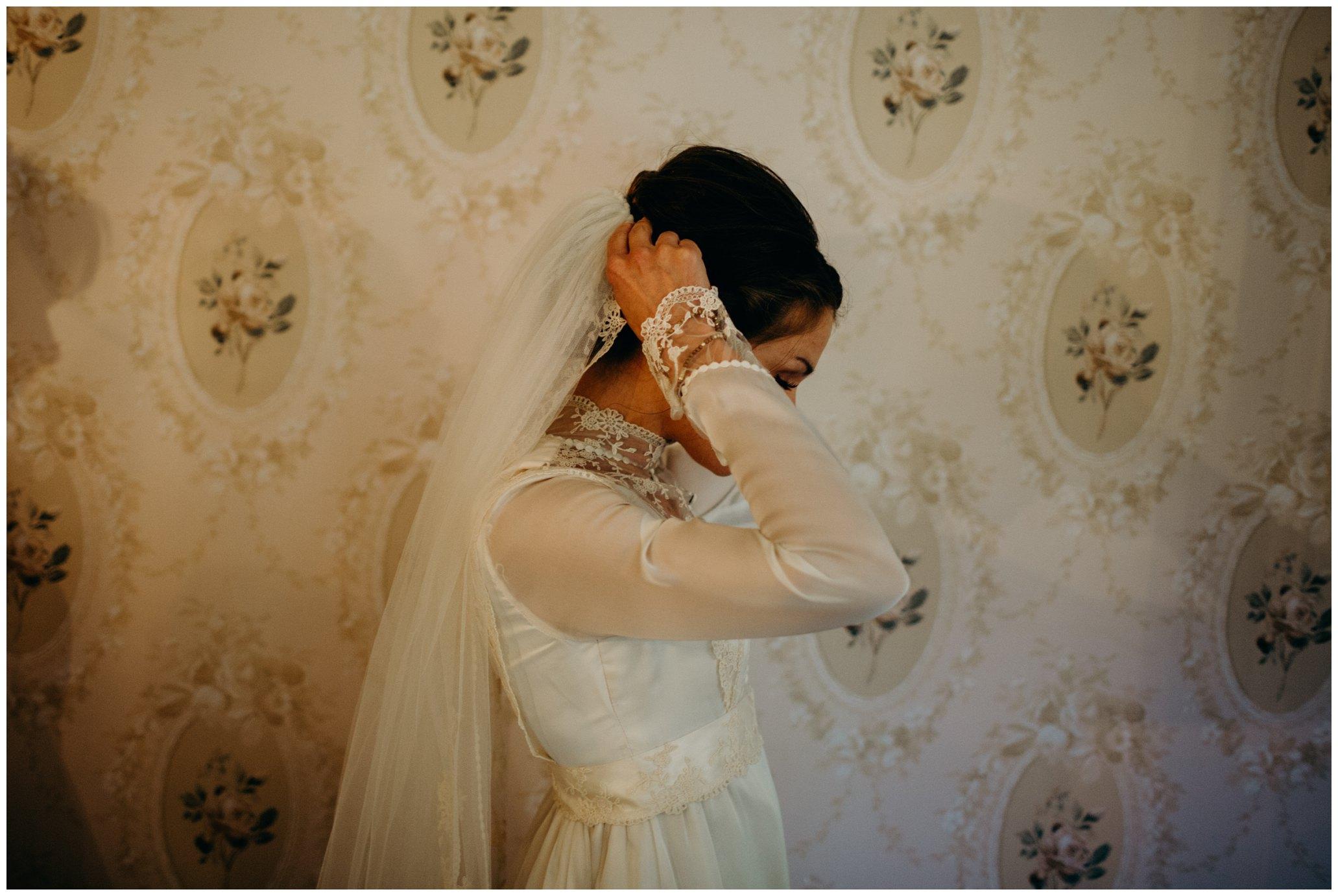 bride wearing moms wedding dress
