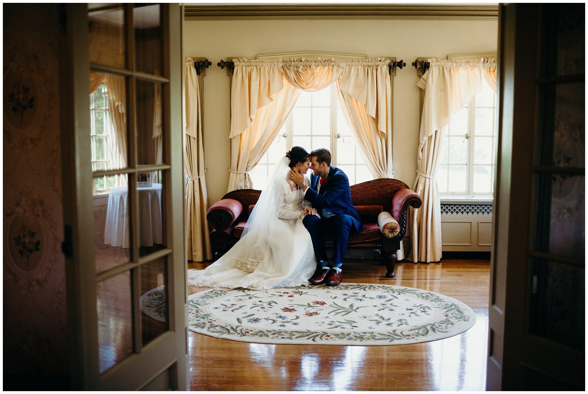 Bride and groom at felt mansion
